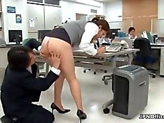 Sexy asian babe gets horny in the office