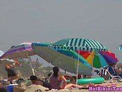 Hot Fit Thong Bikini Blonde Beach Spy Voyeur