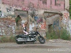 Hot babe in stockings loves her new bike