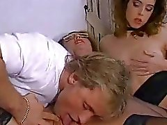 Amateur FFM threesome action with cum in mouth