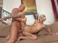 Bald guy removes skinny chick's sexy skirt and rails her in living room