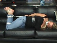 Hogtied on couch 1