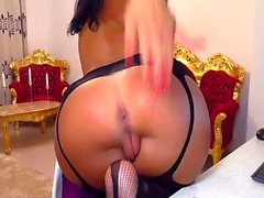 Masturbation in stockings with blonde