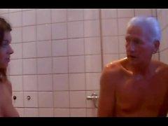 TEEN 56 brunette babe and older man shower