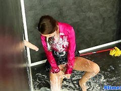Pantyhose babe bukakke covered at gloryhole