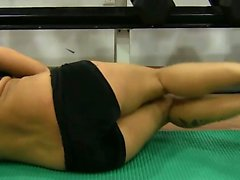 Huge tits brunette fucked in gym by her personal trainer