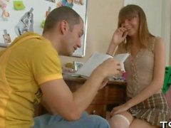 Euro teen gets a hard ride with her tutor