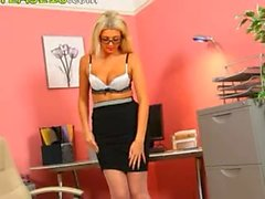 Secretary in sexy lingerie posing alone