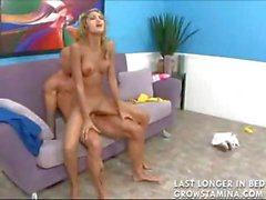 Exotic skinny harlot with blonde hair does some couch coitus