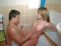 Horny Teen Sucking and fucking in the school bathroom