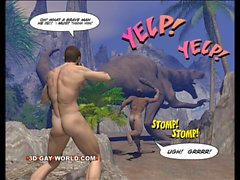 CRETACEOUS COCK 3D Gay Comics about Sex with Hairy Caveman !