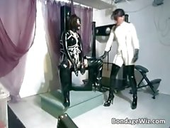 Kinky brunette girls get their latex part1