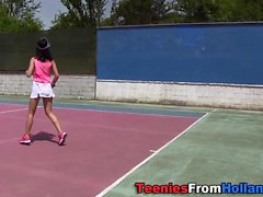 Teen rub with tennis ball