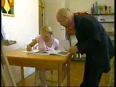 French blonde schoolgirl is having trouble studying so the teacher fucks during break
