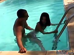 Amanda got taken from behind in the pool