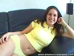 Teen white Brunette Chick Creampie Video