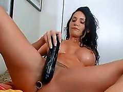 Fit milf riding dildo