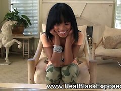 Sexy black gf on a hot strip chess
