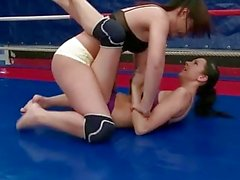 wild young brunette fighting