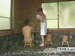 Corridas extraños subtituló CFNM el lavado del pene Japón