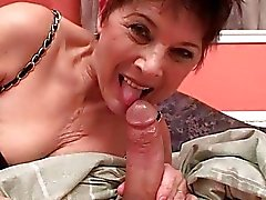 Grandma giving blowjob and riding cock in POV