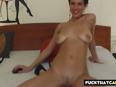 short haired brunette rides dildo on cam segment clip 1