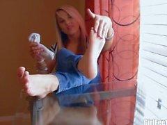 Blonde girl foot POV