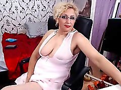 Voluptuous blonde housewife in stockings touches herself fo