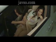 Female secretary and boss in the car