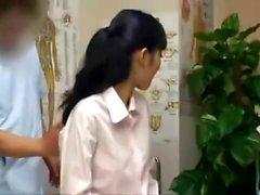 Cute Asian massage babe gives a sensual massage