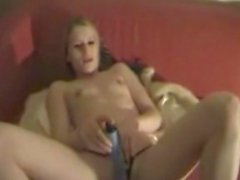 Skinny blonde slut fucked by boyfriend