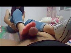Sweet teen shoe and footjob