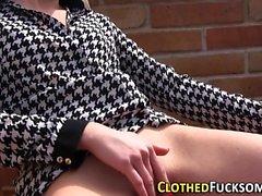 Glam clothed lez fingered