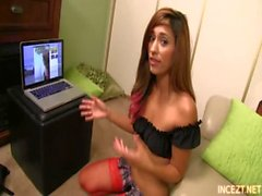 Teen Reena Sky in Stockings Gives Handjob to Stepbrother on Live Webcam Show