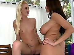 Ava Addams and Roxxi Silver share a cock
