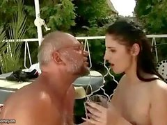 Grandpa and pretty girl pissing and fucking outdoo