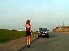 Outdoor crossdresser in lingerie