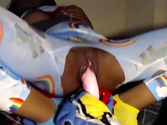 Ebony Teen Masturbating With Toys In Teared Pajamas