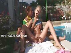 Vika and Natasha russians eating holes