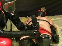 rubber latex milking my slave hd