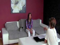 Casting director flirts with hot brunette client