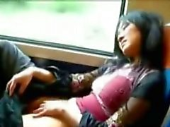 Asian girl masturbating on a public train