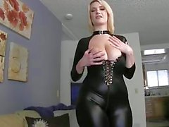 Chubby blonde in costume. JOI