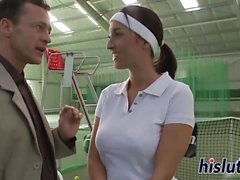 Hot tennis player pleasures two fat cocks