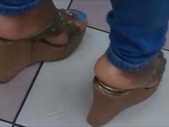 Candid Ebony Soles In High Wedge Sandals
