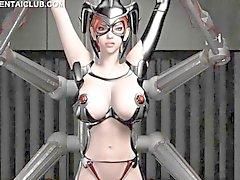 Animé esclavage sexuel au énormes seins devient des mamelons pincés