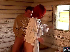 Redhead sweetheart bonks with 2 boyz