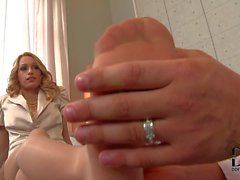 Elegant leggy blonde Erica Fontes gets her feet rubbed