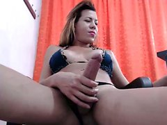 Tranny shemale with big tits riding in cock