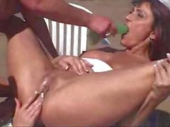 Three slutty lesbians fucking each other in a trailer park